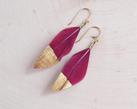Gold Dipped Feather Earrings - F. W. Woolworth Co. Online Store