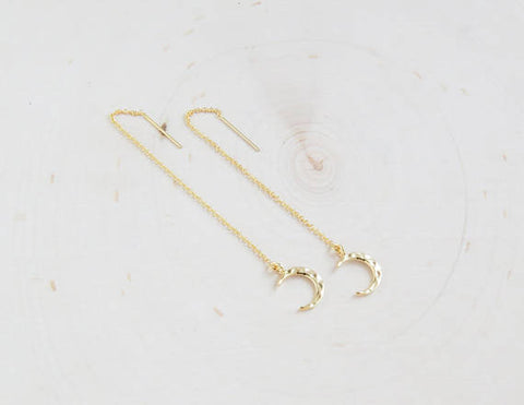 Gold Moon Threader Earrings - F. W. Woolworth Co. Online Store
