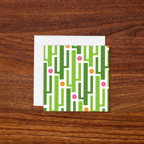 Mini Blank Greeting Card - Green Cactus
