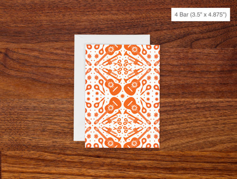 Blank Greeting Card - Orange Guitar Pattern