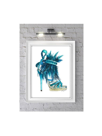 The Tahiti Heel Fashion Illustration Watercolor Painting Print - F. W. Woolworth Co. Online Store
