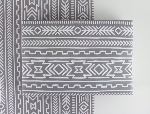 Gray Aztec Gift Wrap - 3 Sheets