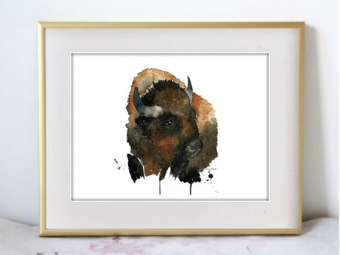 Bison #2 Watercolor Painting Print