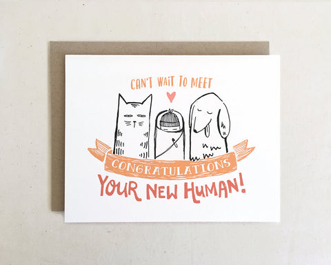 'Can't Wait to Meet Your New Human' Baby Greeting Card