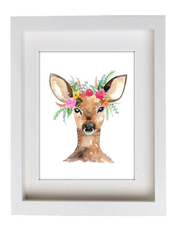 Woodland Flowers - Deer Edition Watercolor Painting Print