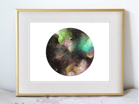 Starry Skies - Galaxy Illustration Watercolor Painting Print