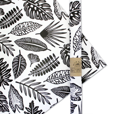 Black Leaf Gift Wrap - 3 Sheets