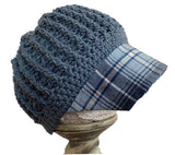 Blue / Blue Plaid Reversible Hat