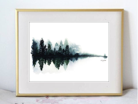 Foggy River Illustration Watercolor Painting Print - F. W. Woolworth Co. Online Store