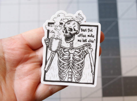 Coffee Skeleton Vinyl Sticker