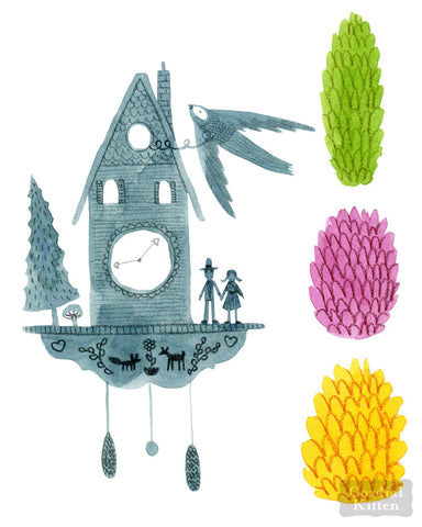 Cuckoo Clock and Pinecones Print