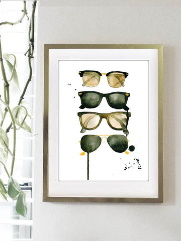 Ray Bans Watercolor Print