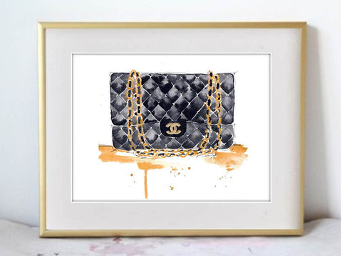 Chanel Purse Fashion Illustration Watercolor Painting Print - F. W. Woolworth Co. Online Store