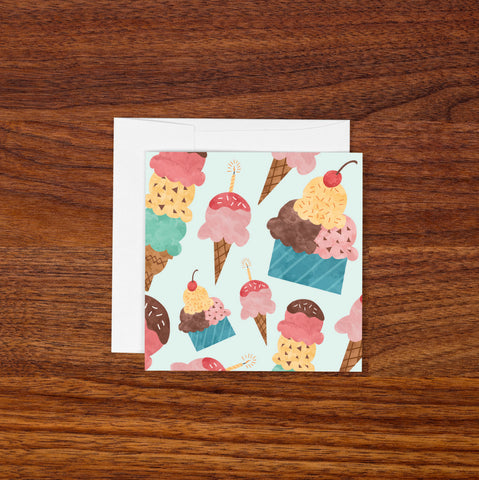 Mini Blank Greeting Card - Ice Cream
