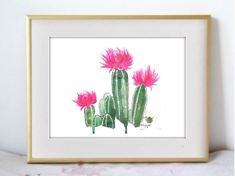 Blooming Cactus Watercolor Print - F. W. Woolworth Co. Online Store