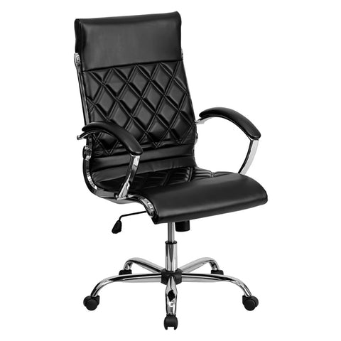 High Back Designer Black Leather Executive Office Chair with Chrome Base - F. W. Woolworth Co. Online Store