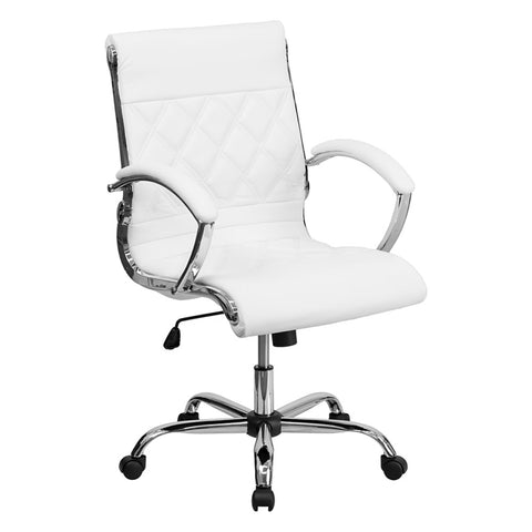 Mid-Back Designer White Leather Executive Office Chair with Chrome Base - F. W. Woolworth Co. Online Store