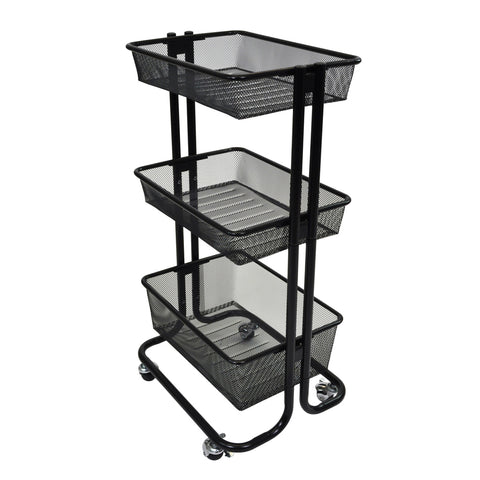 Multipurpose Home Storage Kitchen Utility Rolling Cart - Black