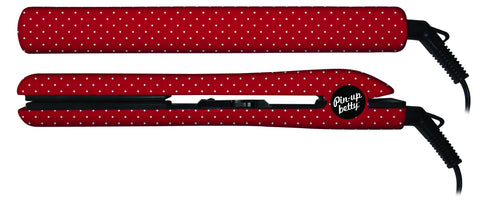 "PIN UP BETTY Ceramic Flat Iron 1"" Plates - Cherry & White Polka Dot - F. W. Woolworth Co. Online Store"