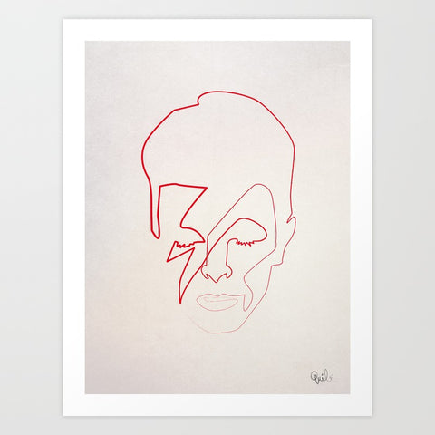 David Bowie One Line Aladdin Sane Art Print