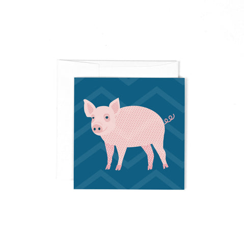 Mini Blank Greeting Card - Piggy