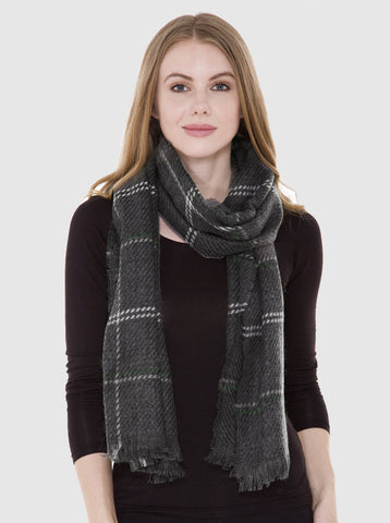 Plaid Pattern Oblong Gray Scarf