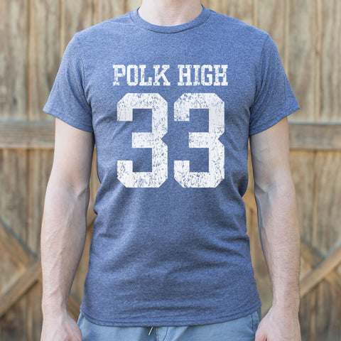 Mens Polk High Number 33 Football T-Shirt