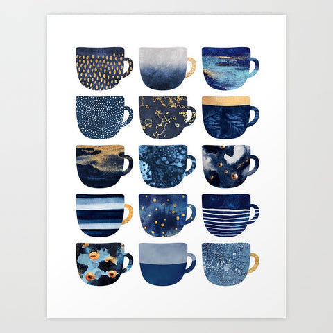 Pretty Blue Coffee Cups Art Print - F. W. Woolworth Co. Online Store