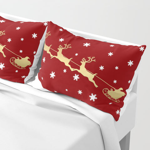 Red Christmas Santa Claus Pillow Shams | Set of 2