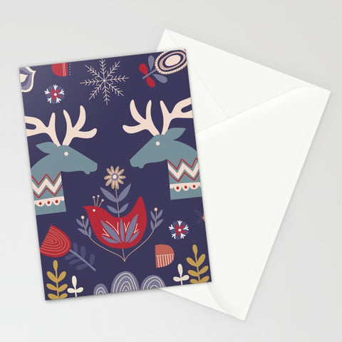 Reindeer and Flowers Greeting Card