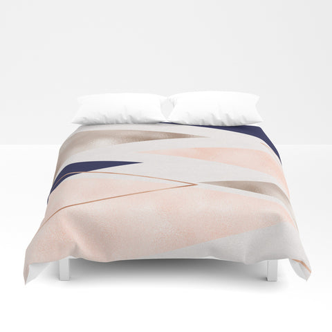 Rose Gold French Navy Geometric Duvet Cover - F. W. Woolworth Co. Online Store