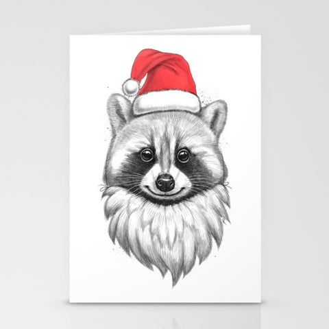 Santa Raccoon Greeting Card