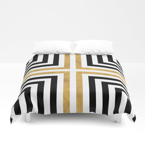 Simple Geometric Cross Pattern Duvet Cover - F. W. Woolworth Co. Online Store