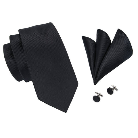 Silk Tie, Pocket Square, & Cufflinks Set - Solids - F. W. Woolworth Co. Online Store