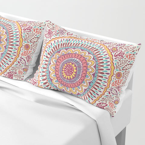 Sunflower Mandala Pillow Shams | Set of 2