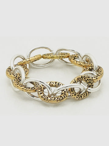 Chunky Two Tone Antique Metal Stretch Link Bracelet