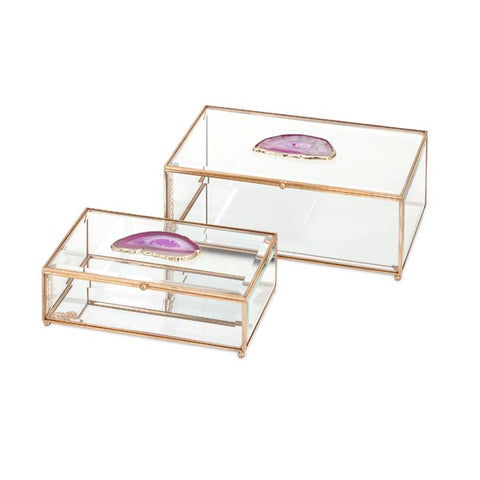 Maison glass and agate boxes - set of 2 - F. W. Woolworth Co. Online Store