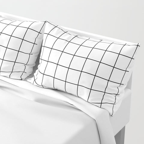 Grid Simple Line Pillow Shams | Set of 2