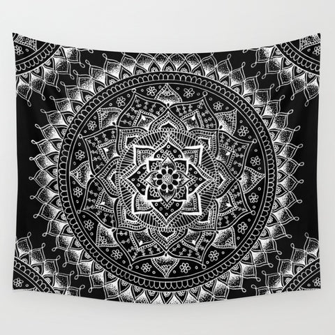 White Flower Mandala on Black Wall Tapestry - F. W. Woolworth Co. Online Store