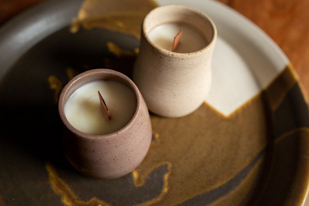 Ceramic Wood Wick Soy Wax Candle