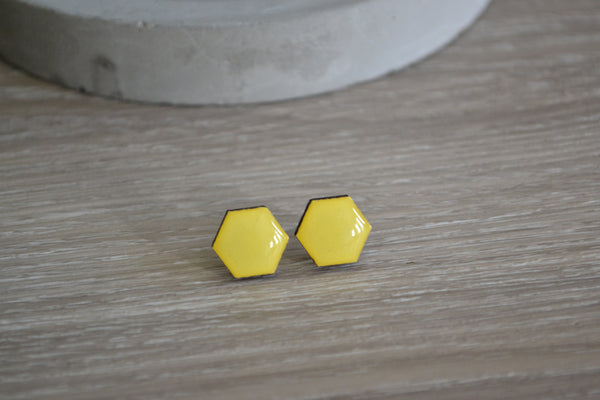 Yellow Hexagon Studs
