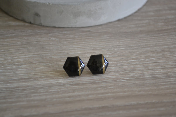 Black & Gold Stripe Studs