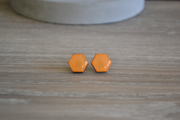 Orange Hexagon Studs