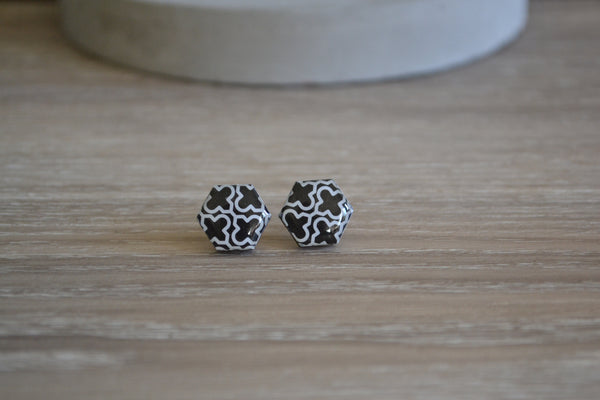 Black & White Cross Studs