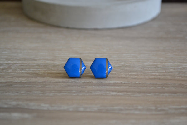 Bright Blue & Gold Stripe Studs