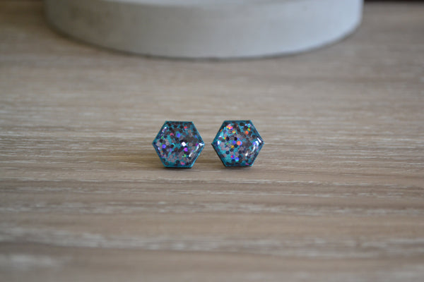 Metallic Teal & Holographic Glitter Studs