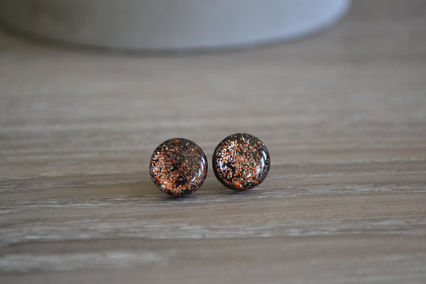 Black & Copper Glitter Round Studs