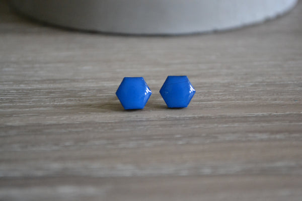 Small Bright Blue Hexagon Studs