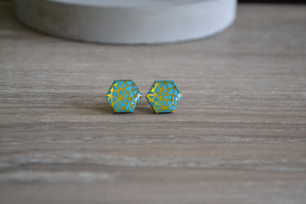 Green & Gold Hexagon Studs