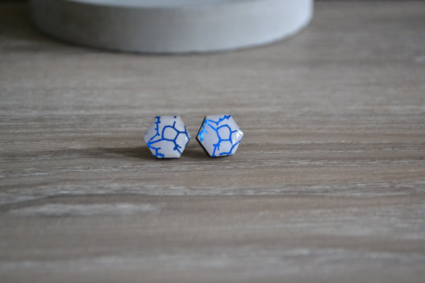 White & Blue Crackle Hexagon Studs